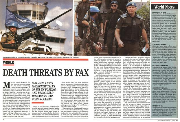Article Preview: DEATH THREATS BY FAX, August 1992 | Maclean's
