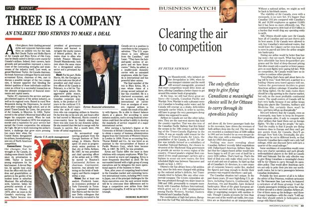 Article Preview: Clearing the air to competition, August 1992 | Maclean's