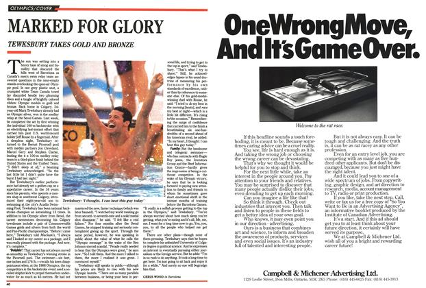 Article Preview: MARKED FOR GLORY, August 1992 | Maclean's