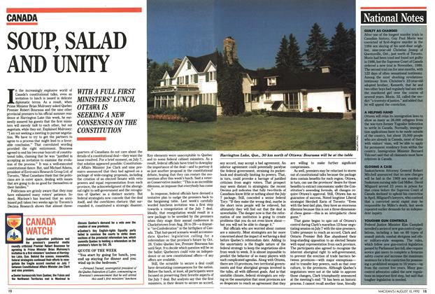 Article Preview: SOUP, SALAD AND UNITY, August 1992 | Maclean's