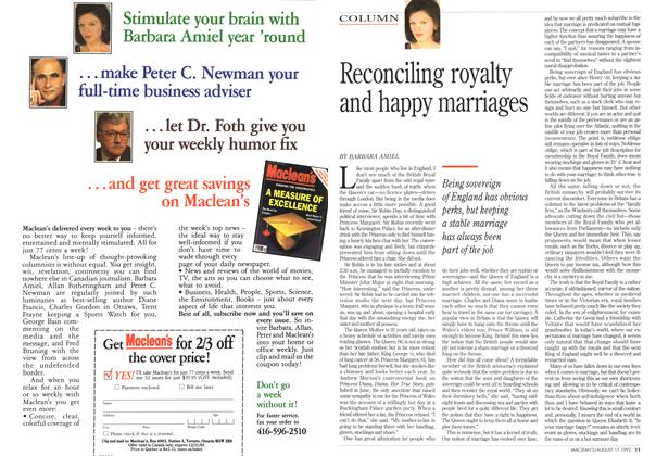 Article Preview: Reconciling royalty and happy marriages, August 1992 | Maclean's