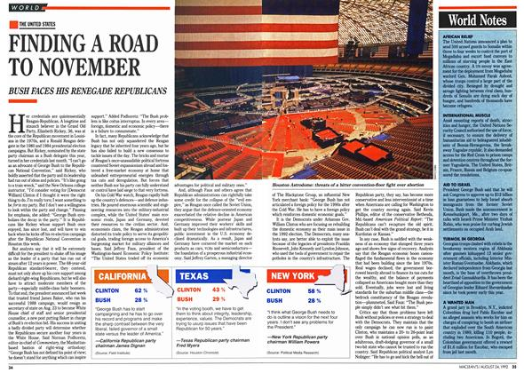 Article Preview: FINDING A ROAD TO NOVEMBER, August 1992 | Maclean's