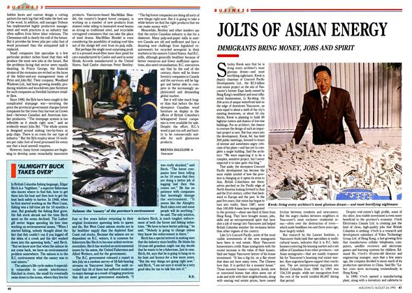Article Preview: JOLTS OF ASIAN ENERGY, August 1992 | Maclean's