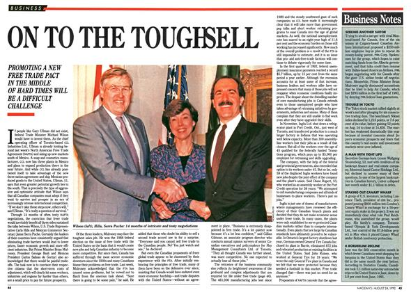 Article Preview: ON TO THE TOUGH SELL, August 1992 | Maclean's