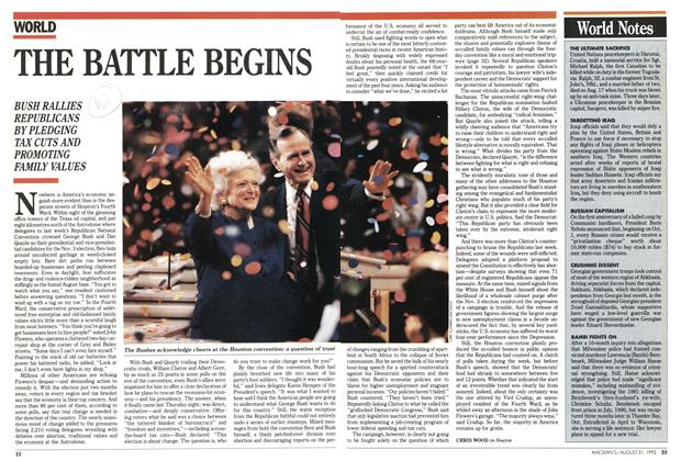 Article Preview: THE BATTLE BEGINS, August 1992 | Maclean's