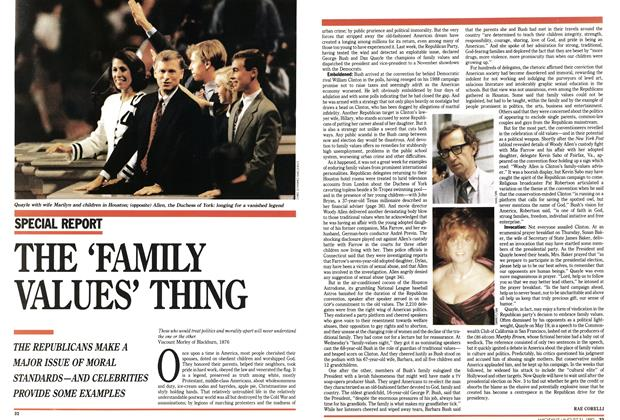 Article Preview: THE'FAMILY VALUES' THING, August 1992 | Maclean's
