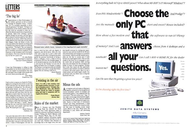 Article Preview: LETTERS, August 1992 | Maclean's