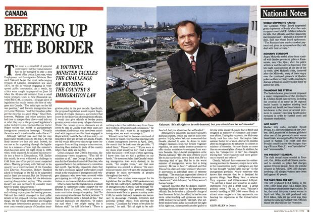 Article Preview: BEEFING UP THE BORDER, August 1992 | Maclean's