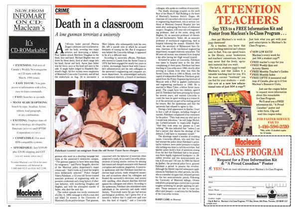 Article Preview: Death in a classroom, September 1992 | Maclean's