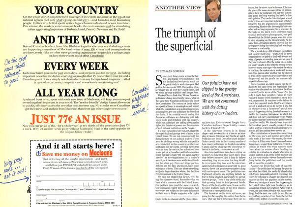 Article Preview: The triumph of the superficial, September 1992 | Maclean's