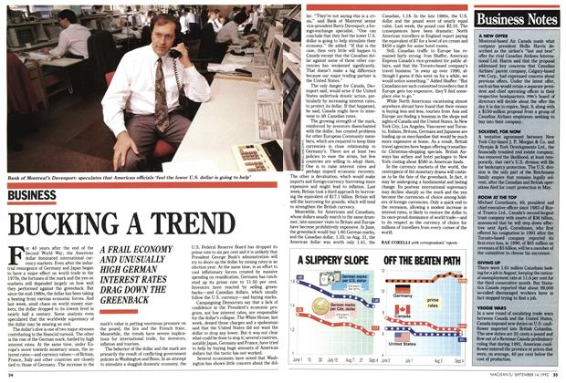 Article Preview: BUCKING A TREND, September 1992 | Maclean's