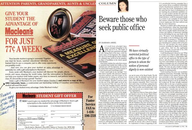Article Preview: Beware those who seek public office, September 1992 | Maclean's