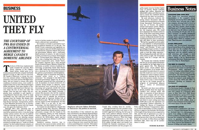 Article Preview: UNITED THEY FLY, September 1992 | Maclean's