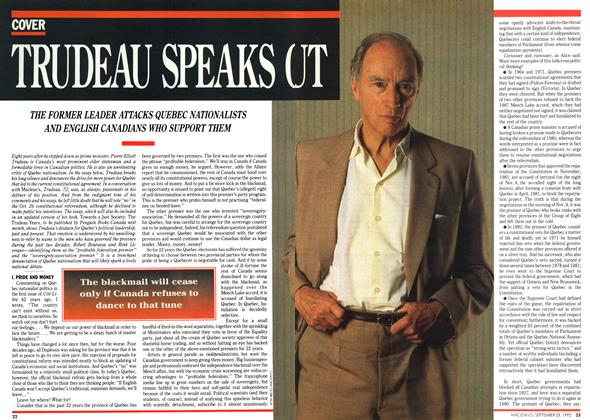 Article Preview: TRUDEAU SPEAKS OUT, September 1992 | Maclean's