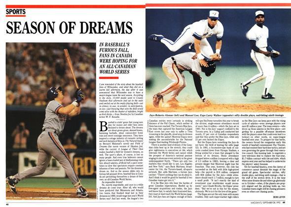Article Preview: SEASON OF DREAMS, September 1992 | Maclean's
