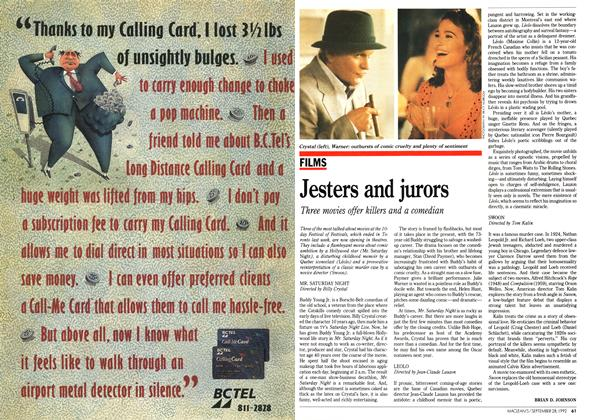 Article Preview: Jesters and jurors, September 1992 | Maclean's