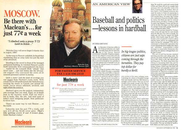 Article Preview: Baseball and politics @#X2014;lessons in hardball, September 1992 | Maclean's