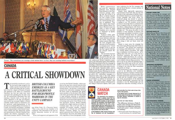 Article Preview: A CRITICAL SHOWDOWN, October 1992 | Maclean's