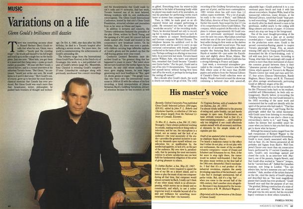 Article Preview: His master's voice, October 1992 | Maclean's