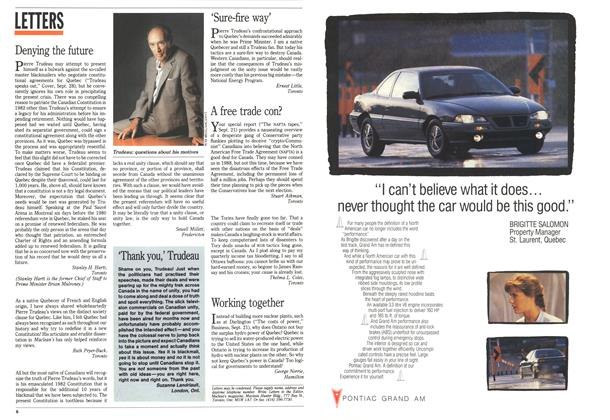 Article Preview: LETTERS, October 1992 | Maclean's
