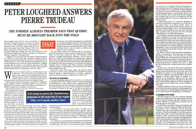 Article Preview: PETER LOUGHEED ANSWERS PIERRE TRUDEAU, October 1992 | Maclean's