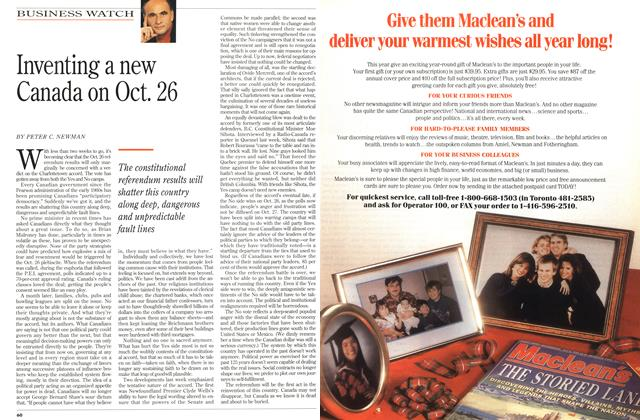 Article Preview: Inventing a new Canada on Oct. 26, October 1992 | Maclean's