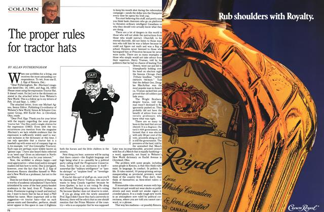Article Preview: The proper rules for tractor hats, October 1992 | Maclean's