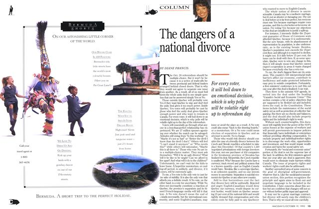 Article Preview: The dangers of a national divorce, October 1992 | Maclean's
