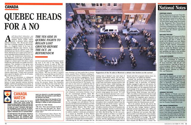 Article Preview: QUEBEC HEADS FOR A NO, October 1992 | Maclean's