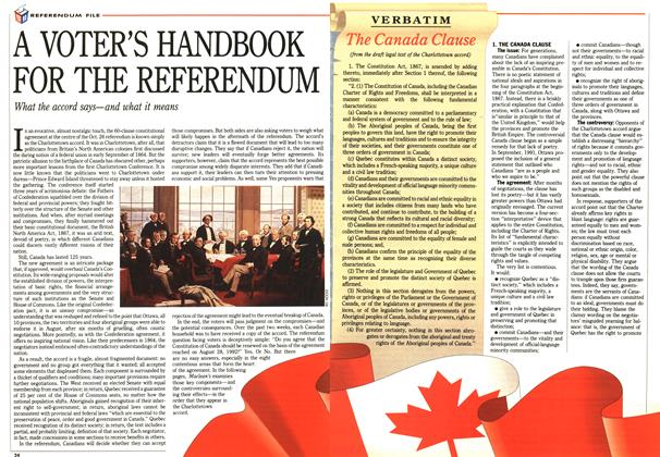 Article Preview: A VOTER'S HANDBOOK FOR THE REFERENDUM, October 1992 | Maclean's
