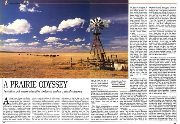 Article Preview: A PRAIRIE ODYSSEY\, October 1992 | Maclean's