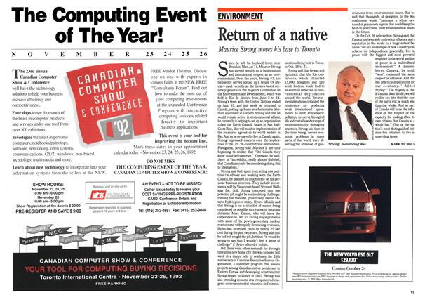 Article Preview: Return of a native, October 1992 | Maclean's