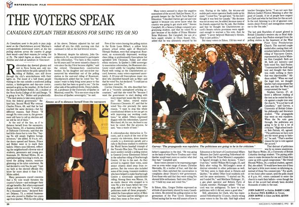 Article Preview: THE VOTERS SPEAK, November 1992 | Maclean's