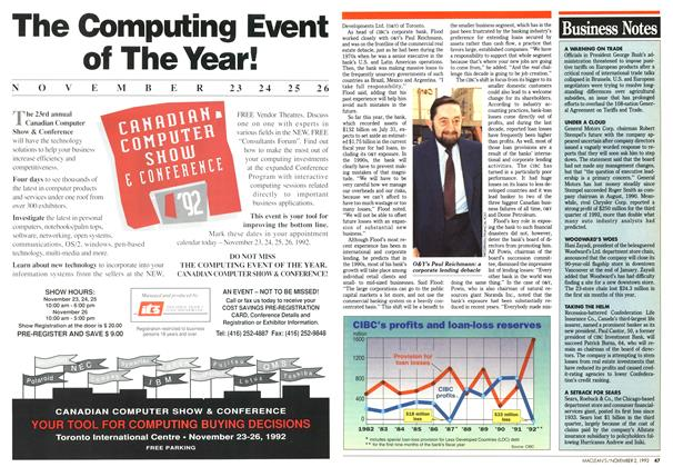 Article Preview: Business Notes, November 1992 | Maclean's