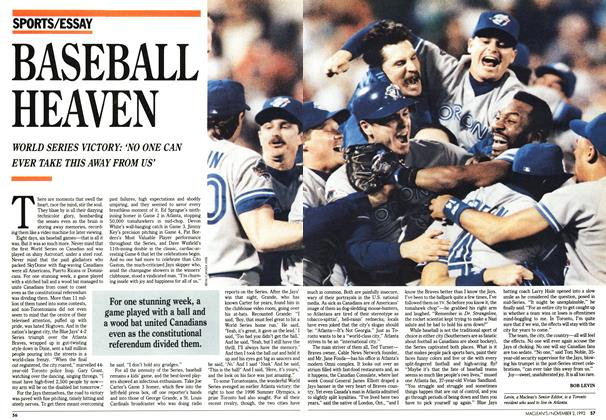 Article Preview: BASEBALL HEAVEN, November 1992 | Maclean's