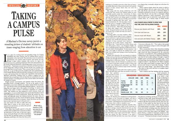 Article Preview: TAKING A CAMPUS PULSE, November 1992 | Maclean's