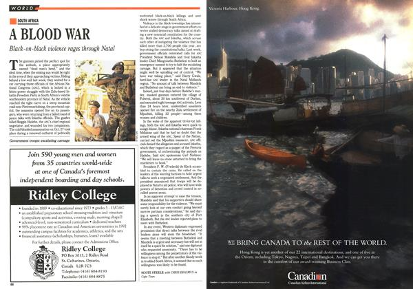 Article Preview: A BLOOD WAR, November 1992 | Maclean's