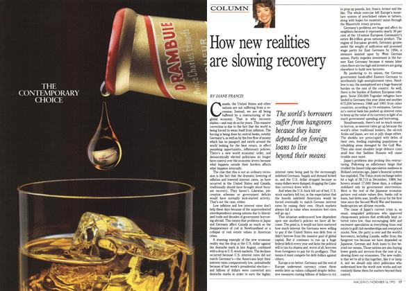 Article Preview: How new realities are slowing recovery, November 1992 | Maclean's