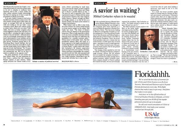 Article Preview: A savior in waiting?, November 1992 | Maclean's