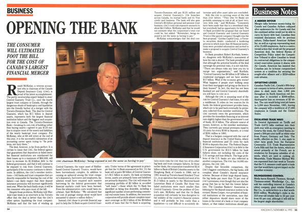 Article Preview: OPENING THE BANK, November 1992 | Maclean's