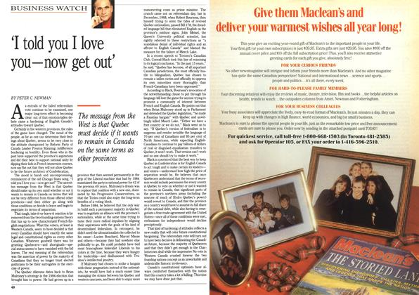 Article Preview: 'I told you I love you—now get out', November 1992 | Maclean's