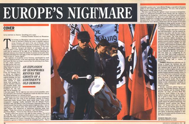 Article Preview: EUROPE'S NIGHTMARE, November 1992 | Maclean's