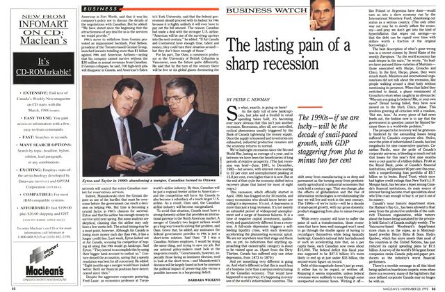 Article Preview: The lasting pain of a sharp recession, November 1992 | Maclean's