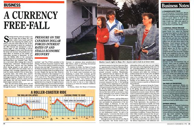 Article Preview: A CURRENCY FREE-FALL, November 1992 | Maclean's