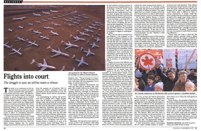 Article Preview: Flights into court, November 1992 | Maclean's