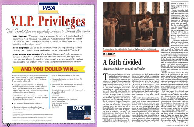 Article Preview: A faith divided, November 1992 | Maclean's