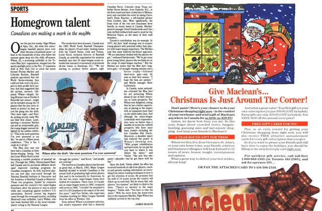 Article Preview: Homegrown talent, November 1992 | Maclean's