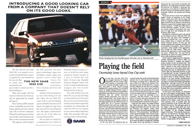 Article Preview: Playing the field, November 1992 | Maclean's