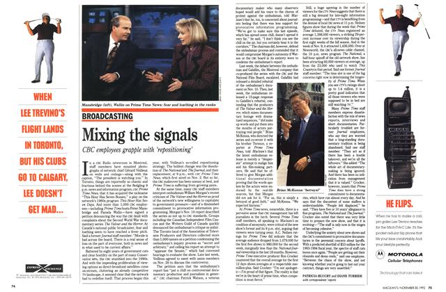 Article Preview: Mixing the signals, November 1992 | Maclean's
