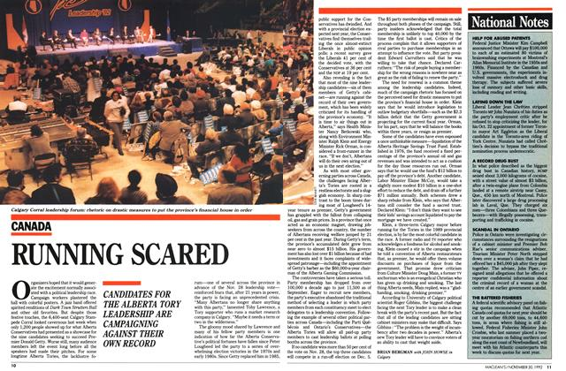Article Preview: RUNNING SCARED, November 1992 | Maclean's
